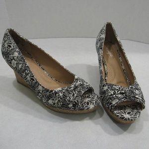Dexflex Comfort Cork Wedge Floral Open Toe Shoes